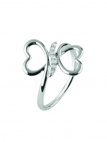 Bliss ring sighs white gold diamond double heart 20073794