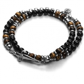 Cesare paciotti jewels, bracelet double tour silver tiger's eye JPBR1412B