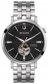 Bulova automatic watch stainless steel the quad. black 96A199