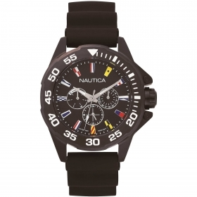 Nautica mens watch black multifunction dial with baniere NAPMIA001