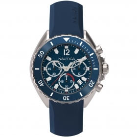 Nautica watch chrono steel case cint and blue dial NAPNWP001