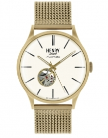 Henry London automatic watch steel gold qudrante white HL42-