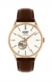 Henry London watch automatic steel case pink cowhide leather