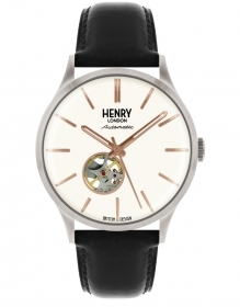 Henry London automatic watch steel leather strap HL42-AS-0279