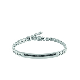 Bliss bracelet man silver cubic zirconia black 20075569