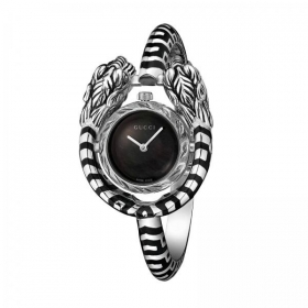 Gucci watch in silver women's heads, tiger's mother-of-pearl YA149501