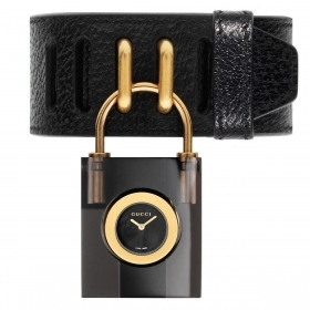 Gucci woman watch case plexi padlock leather bracelet YA150506