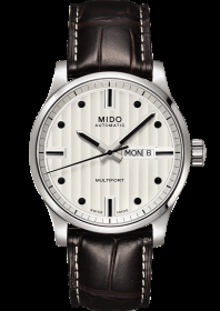 Mido watch multifort stainless steel day/date cowhide leather strap leather M005.430.16.031.80