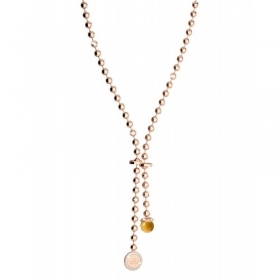 Rebecca necklace 50 cm, gold plated bronze pink stone hydrothermal BHBKRCO4
