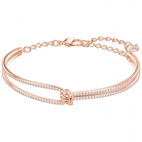 Swarovski bangle Lifelong, white, pink gold-plated 5390818
