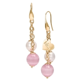 Bliss earrings with bronze stones white pink 20073631