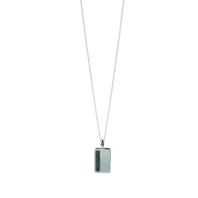 Bliss necklace man silver plate cubic zirconia black 20075572