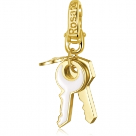 Rosato charm in silver with gold-plated keys black enamel white RSE013