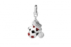 Rosato charm glove snow red enamel white black RHL026
