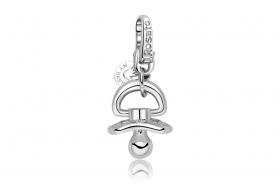 Rosato charm silver pacifier cubic zirconia white RBB025