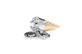 Rosato charm silver ice cream cone gold plating cubic zirconia white RHO003