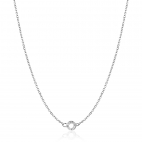 Rosé silver necklace with a ring charm long RCL16