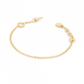 Pink bracelet in silver with gold-plated 1 ring for charm RBR12