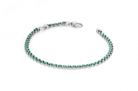 Rosé silver bracelet kept zircons green 1 ring for charm RBR19A
