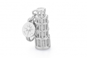Pink silver charm leaning tower of pisa RCI019
