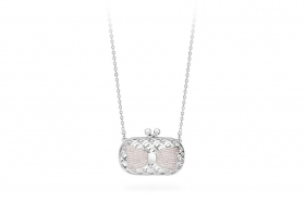 Rosé silver necklace purse bow cubic zirconia RIC16