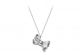 Rosé silver necklace with bow RIC35