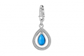 Rosato charm silver pave' cubic zirconia teardrop turquoise cabochon RDE023