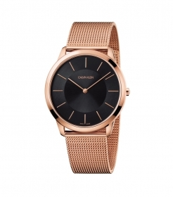 Calvin Klein watch minimal stainless steel with pink gold pvd, black dial K3M2T621