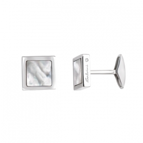 Salvini cufflinks in silver with a diamond and mother-of-pearl 20059005