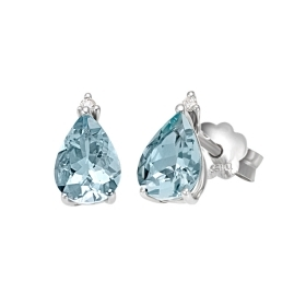 Bliss earrings Bhaia gold diamonds aquamarine 20074022