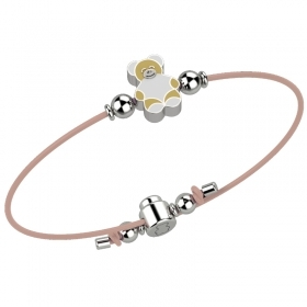 Nanan bracelet baby girl pink with teddy bear silver nan0037