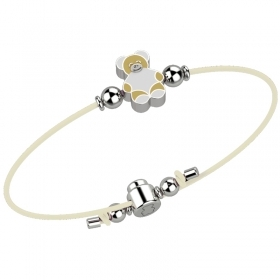 Nanan bracelet child white bear with silver nan0038