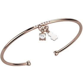 Nanan bangle silver pink cubic zirconia teddy bear nan0015