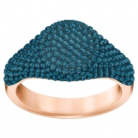 Swarovski Ring Stone Signet, blue, pink gold-plated size 555406201