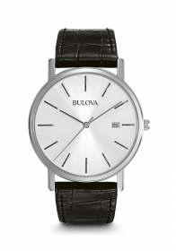 Bulova mens watch Classic stainless steel cint. black leather 96B104