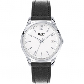 Henry London clock EDGWARE steel case leather strap HL39-S-0017