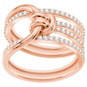 Swarovski Ring Lifelong Wide, white, with pink gold-plated 55 5369797