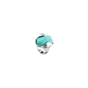 Uno de 50 ring alloy bathroom silver element in resin turquoise ANI0552AZUMTLXL