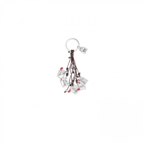 Uno de 50 keyring te doy leather plates silver league LLA0182MARMTL0U
