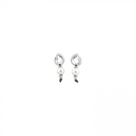 Uno de 50 earrings media luna pendants alloy pearl PEN0569BPLMTL0U