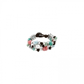 Uno de 50 bracelet, three strands leather alloy crystal pearl PUL1709BPLMCL0M