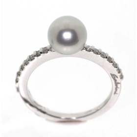 Salvini white gold ring with pearl grey and diamonds 0.21 ct 20058774