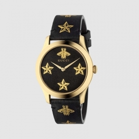 Gucci Watch G-Timeless 38mm gold pvd cint black leather api and star YA1264055