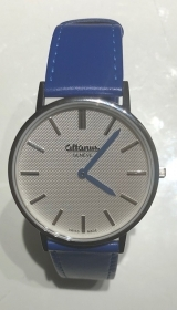 Altanus mens watch case steel 40 mm strap blue leather Slim 7962