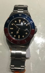 Macteam watch stainless steel 39 mm bezel with blue and red quad black 7963BR
