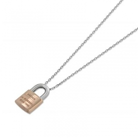 Pontevecchio necklace with padlock white gold pink LLP1WR