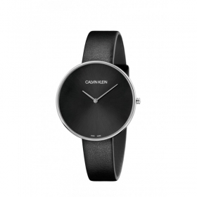 Calvin Klein watch of a full moon steel case cint black leather K8Y231C1