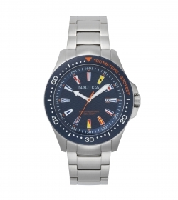 Nautica watch JONES BEACH COLLECTION stainless steel quad blue with flags NAPJBC004