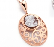 Cameo Italian pendant silver 925 gold pink cameo Italian hand-crafted P91