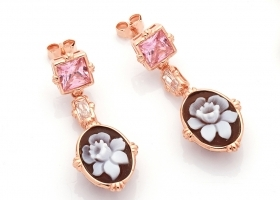 Cameo Italiano-earrings silver rose gold and pink stone cameo hand-engraved O93